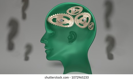 Not so smart - human head with twisted and misaligned wooden cogwheels inside, symbolizes stupidity, idiocy, being a dumb person, 3d illustration