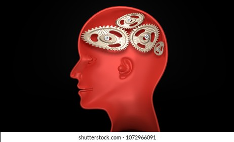 Not wise - human head with twisted and misaligned wooden cogwheels inside, symbolizes stupidity, idiocy, being a dumb person, 3d illustration