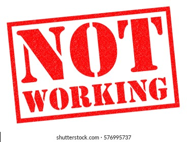 NOT WORKING red Rubber Stamp over a white background.