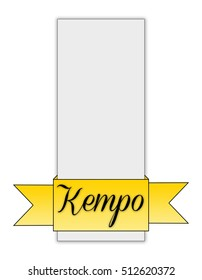 Note and banners for shop or ticket with a minimalist style. Ribbon and paper effect. Kempo martial art