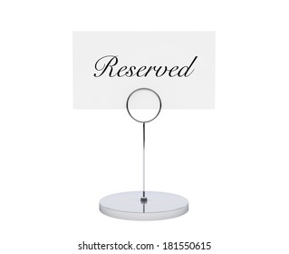 Note paper card holder with reserved sign on a white backround