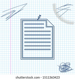 Note paper with pinned pushbutton line sketch icon isolated on white background. Memo paper sign