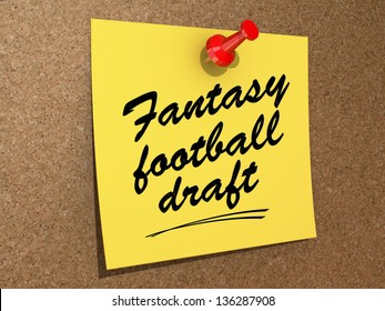 A note pinned to a cork board with the text Fantasy Football Draft.