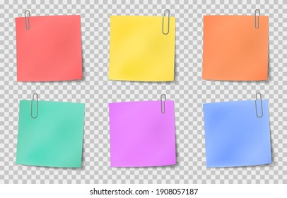 Note sticky. Color paper notes attached by metallic paper clips, information noticeboard, important memo message realistic set