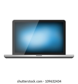 Notebook with blue screen isolated on white background