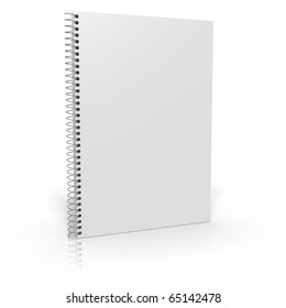 Notebook with coil spiral on white background