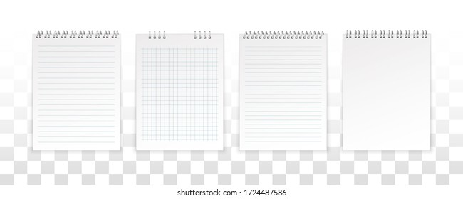 Notebook, diary. Realistic metal spiral. Artistic design clean spiral notebook blank layout template. Set of exercise book sheets.