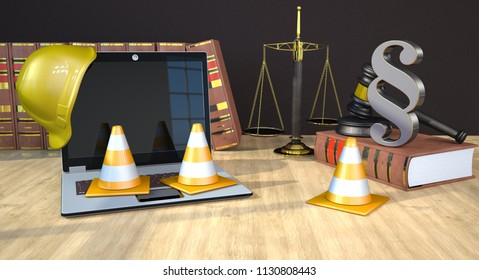 Notebook with helmet and traffic cones on the table with paragraph, gavel and law books. 3d illustration.