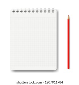 Notebook Isolated With Pencil White Background