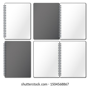 Notebook mockup. Empty copybook, notebooks pages binded on metal spiral and open bound sketchbook. Diaries notepad or scrapbook. Realistic 3d  illustration isolated icons set