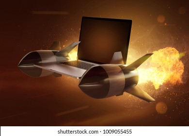 Notebook with rocket engines (3D Rendering)