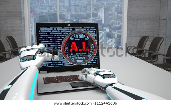 Notebook with the text A.I. on the screen and the robot hands with loupe in the conference room. 3d illustration.
