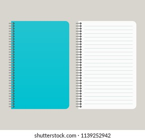 Notepad with a blue cover and with a binding from left side