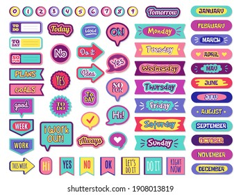 Notepad stickers. To do sticky for planner agenda status check list trendy lettering for organizer