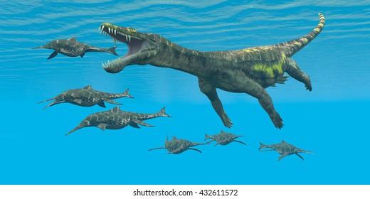 Nothosaurus attacks Shonisaurus 3D Illustration  - Shonisaurus Ichthyosaurs are prey and hunted by the enormous Nothosaurus aquatic reptile in Triassic seas.