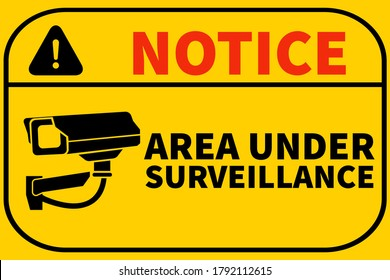 Notice Area Under Surveillance signage printable free download, illustration used in office, malls, apartments, stores, yellow background Sticker. These premises are under cctv surveillance images