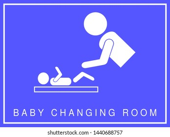 Notice of baby changing room, facilities and accessibility. Non-sexist signal, without discrimination by sex. Access to the dependencies to men and women indistinctly. Illustration on blue background.