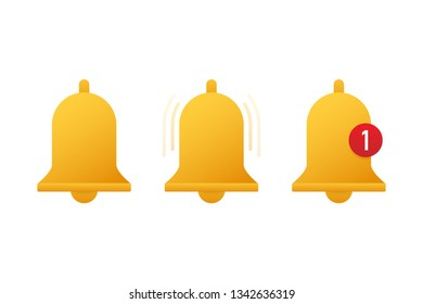Notification bell icon for incoming inbox message.  stock illustration.