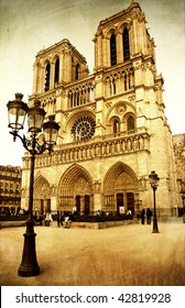Notre dame cathedral - retro styled picture