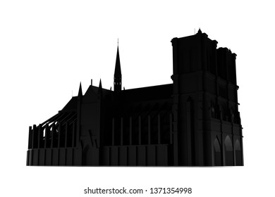 Notre Dame Cathedral silhouette isolated on white background 3d illustration
