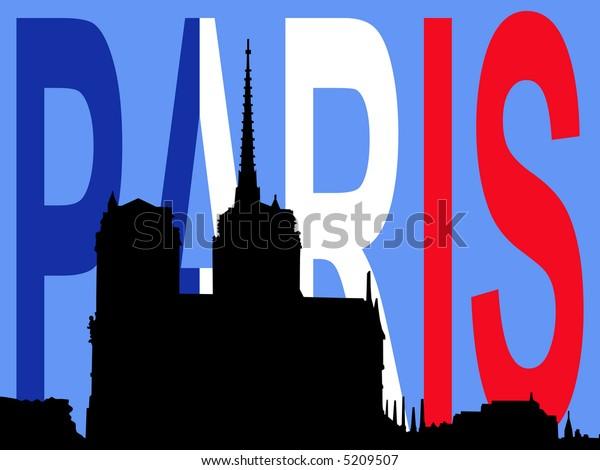 Notre Dame Paris and French Flag illustration JPG