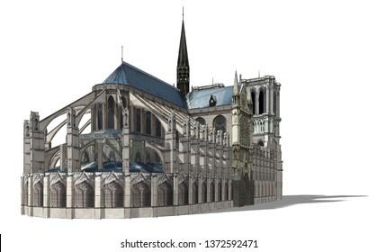 Notre Dame Paris sketch 3d illustration