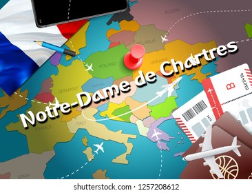 Notre-Dame de Chartres city travel and tourism destination concept. France flag and Notre-Dame de Chartres city on map. France travel concept map background. Tickets Planes and flights to Notre-Dame
