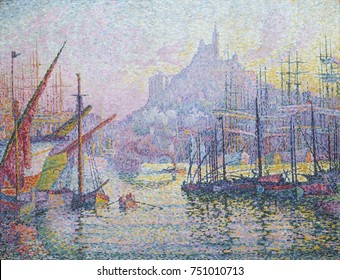 Notre-Dame-de-la-Garde, Marseilles, by Paul Signac, 1905-06, French Post-Impressionist painting. This oil on canvas depicts the harbor and hill top church nicknamed the Good Mother by seamen. Signac a