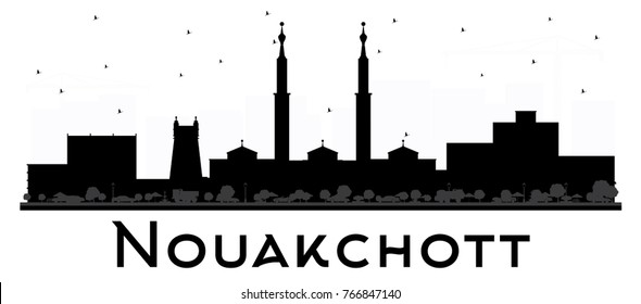 Nouakchott Mauritania Skyline Black and White Silhouette. Simple Flat Concept for Tourism Presentation, Banner, Placard or Web Site. Business Travel Concept. Cityscape with Landmarks.