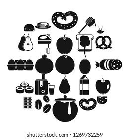 Nourishment icons set. Simple set of 25 nourishment icons for web isolated on white background