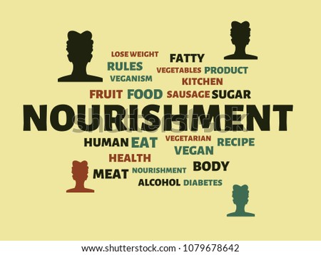 nourishment image words associated topic nutrition stock