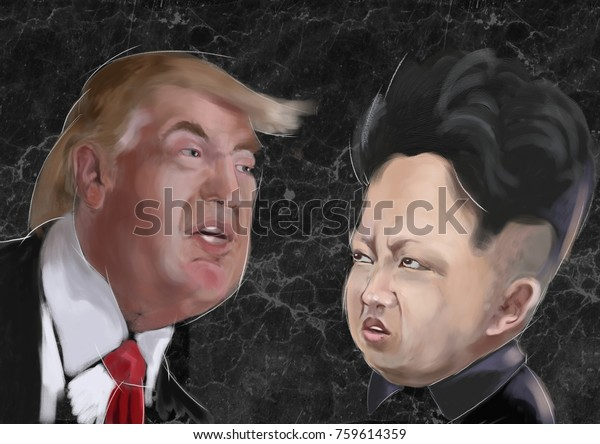 nov 2017 - Donald Trump 45th President of United States of America Vs Kim Jong-un  Korean Leader - Characters portraits