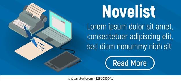 Novelist concept banner. Isometric banner of novelist concept for web, giftcard and postcard