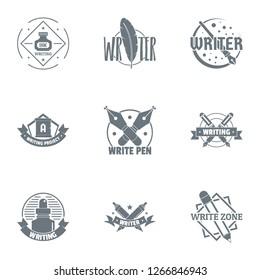 Novelist logo set. Simple set of 9 novelist logo for web isolated on white background