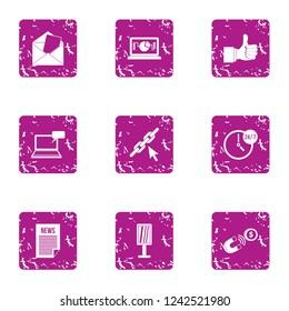 Novelty icons set. Grunge set of 9 novelty icons for web isolated on white background