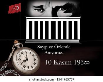 illüstrasyon of , November 10,1938, the founder of the republic of Turkey Mustafa Kemal Atatürk's death anniversary commemoration day.tr:( 10 kasım 1938 , mustafa kemal atatürk ölüm yıldönümü
