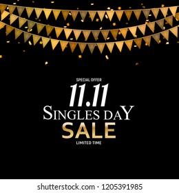 November 11 Singles Day Sale.  Illustration