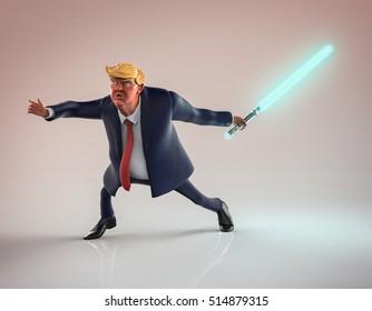 November 12, 2016: Character portrait of Donald Trump with light-saber. 3D illustration