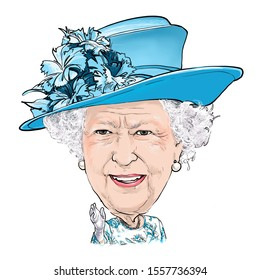 November 12, 2019 Caricature of Elizabeth II is Queen of the United Kingdom and the other Commonwealth realms, Elizabeth Alexandra Mary Windsor, was an A Portrait Drawing Illustration.