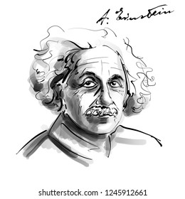 November 20, 2018 Caricature of Albert Einstein Theoretical physicist Scientist Portrait Drawing Illustration