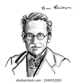 November 20, 2018 Caricature of Erwin Schrodinger Theoretical physicist Scientist Portrait Drawing Illustration