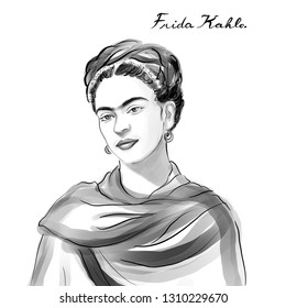 November 20, 2018 Caricature of  Frida Kahlo Painter Artist Portrait Drawing Illustration