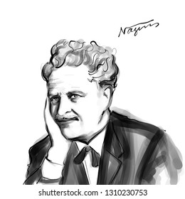 November 20, 2018 Caricature of  Nazim Hikmet Turkish Poet Portrait Drawing Illustration