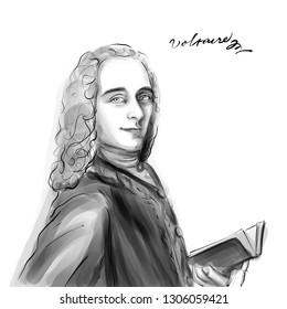 November 20, 2018 Caricature of Voltaire Author Portrait Drawing Illustration