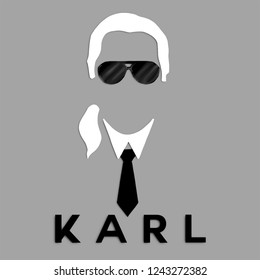 November, 2018 ; Black and White portrait of Karl Lagerfeld, Fashion Stylist of Maison Chanel
