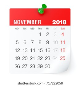 November 2018 - Calendar. Isolated on White Background. 3D Illustration