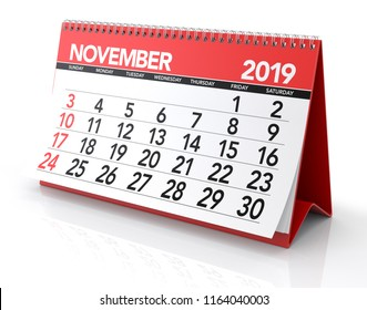 November 2019 Calendar. Isolated on White Background. 3D Illustration