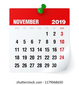 November 2019 - Calendar. Isolated on White Background. 3D Illustration