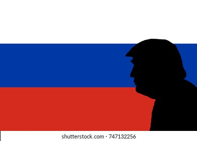 NOVEMBER 3, 2017: An illustration showing the silhouette of United States President Donald Trump surrounded by clouds of Russian flag. Trump is currently dealing with Russian-collusion controversy.