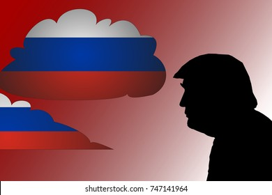 NOVEMBER 3, 2017: An illustration showing the silhouette of United States President Donald Trump surrounded by clouds of Russian flag in a red background.